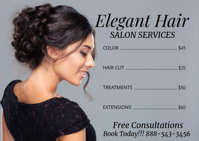 beauty salon price list post card flyer Postkort template