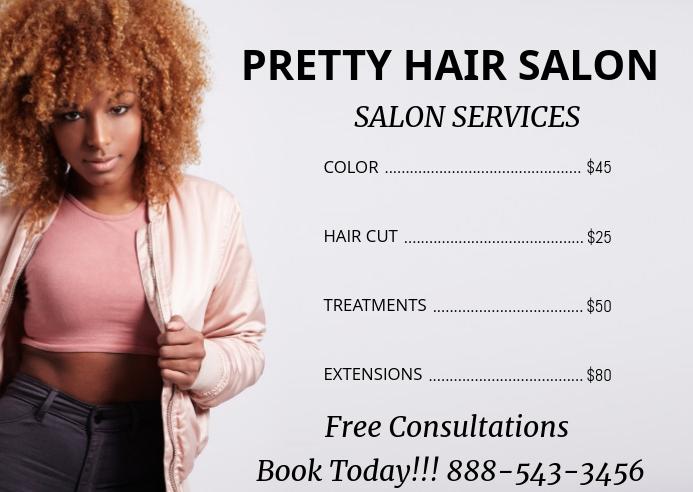beauty salon price list post card flyer 明信片 template