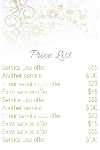 Beauty Salon price list