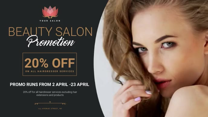 Beauty salon promotion design template Video Sampul Facebook (16:9)