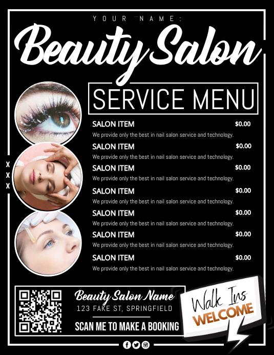 Beauty Salon Service Menu Poster Folder (US Letter) template