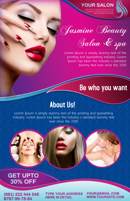 beauty salon spa แทบลอยด์ template