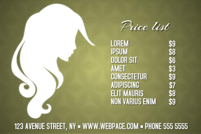 beauty salon spa hair landscape price list template