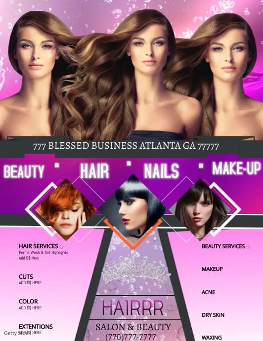 Beauty Salon Video Løbeseddel (US Letter) template