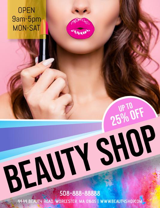 Beauty Shop Flyer Template ใบปลิว (US Letter)