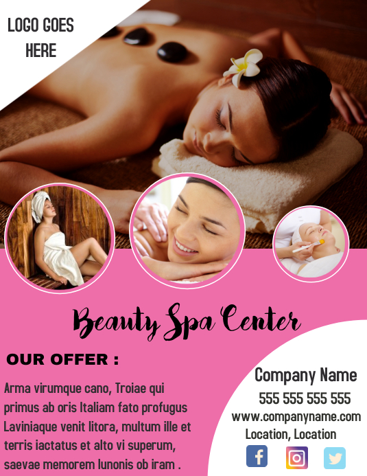 Beauty Spa Center Flyer Template Postermywall
