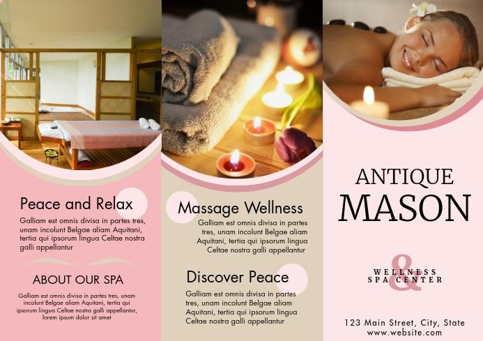 Beauty spa Resort trifold brochure advertisem A4 template