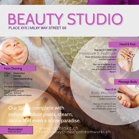 Beauty Studio Spa Massage Therapy Treatment Quadrato (1:1) template