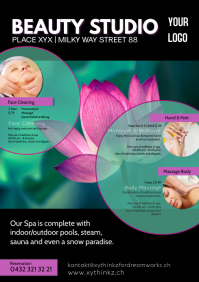 Beauty Studio Spa Massage Therapy Treatment A4 template