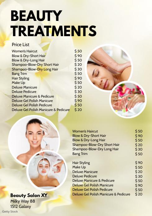 Beauty Treatments Price List Spa Wellness Ad A4 template