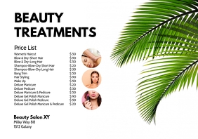 Beauty Treatments Price List Spa Wellness Ad A4 template