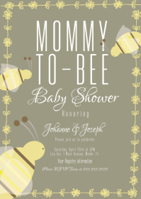 Bee Baby Shower Floral Invitation