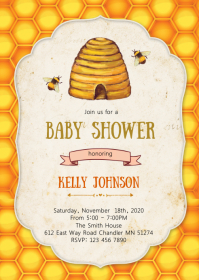 Bee baby shower invitation A6 template