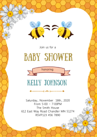 Bee baby shower party invitation