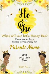 Bee Gender Reveal Banner 4' × 6' template