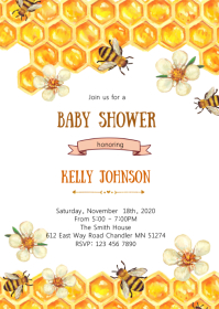 Bee honey shower invitation