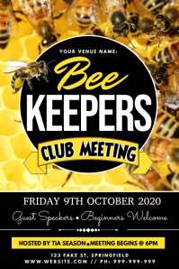 Bee Keepers Club Meeting Poster template