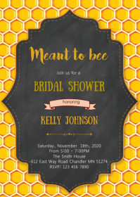 Bee shower invitation A6 template