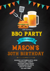 Beer and bbq birthday invitation
