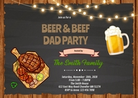 Beer and beef dad party invitation A6 template