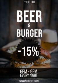 Beer and burger Happy Hour discount flyer