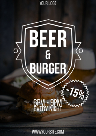 Beer and burger Happy Hour flyer