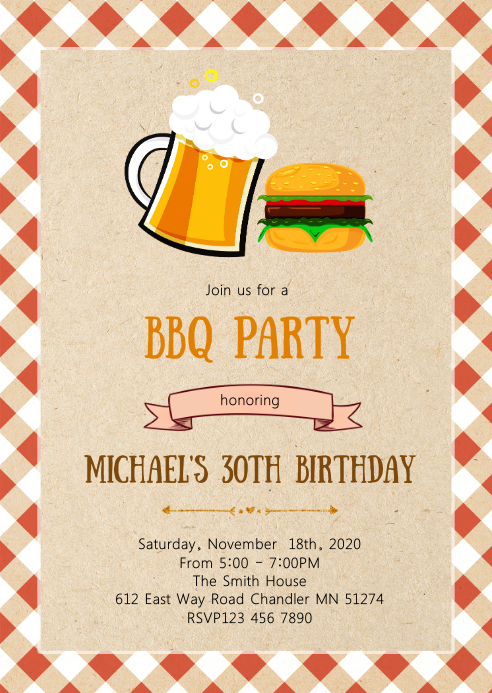 Beer and burger party invitation