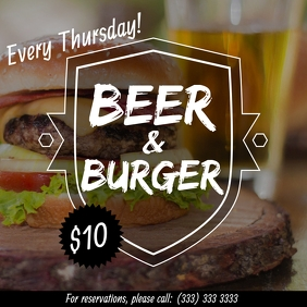 Beer and Burger promo offer flyer Сообщение Instagram template