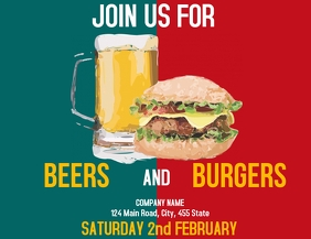 Beer and burgers night flyers advertisement