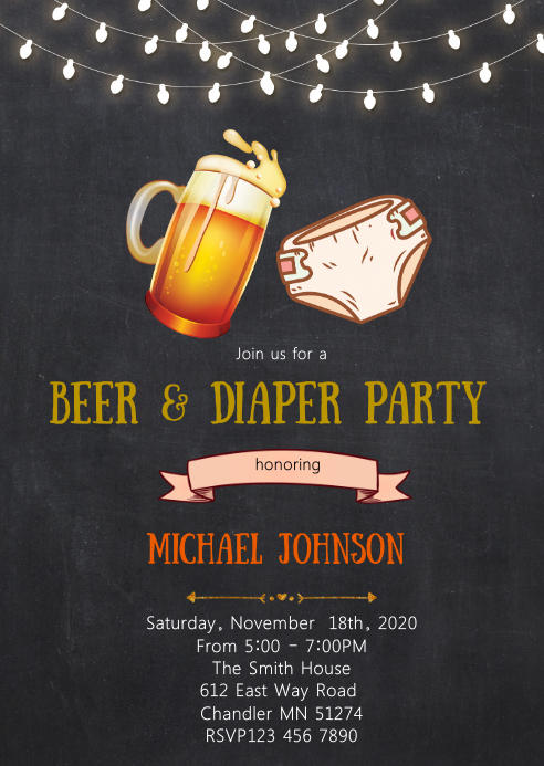 Beer and diaper shower party invitation