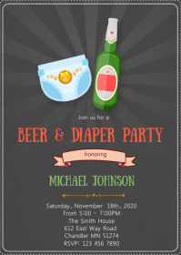 Beer and diaper shower party invitation A6 template