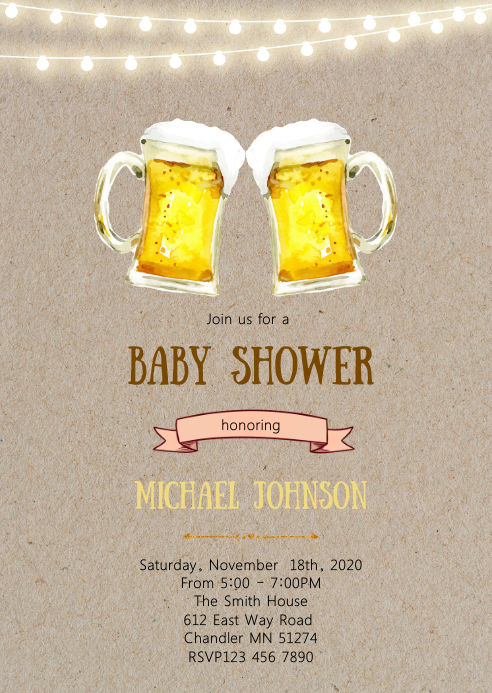Beer baby shower party invitation