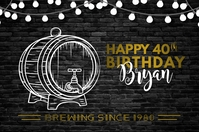 Beer Barrel Happy Birthday Poster template