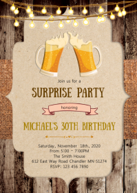 Beer birthday party invitation