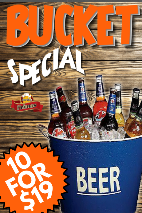 Beer Bucket Bar Promo Poster Template