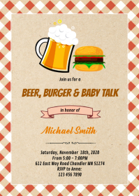 Beer burger baby talk party invitation A6 template