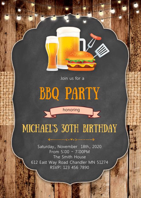 Beer burger bbq birthday party invitation