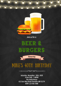 Beer burger birthday party invitation A6 template