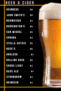 Beer Card Menu Template