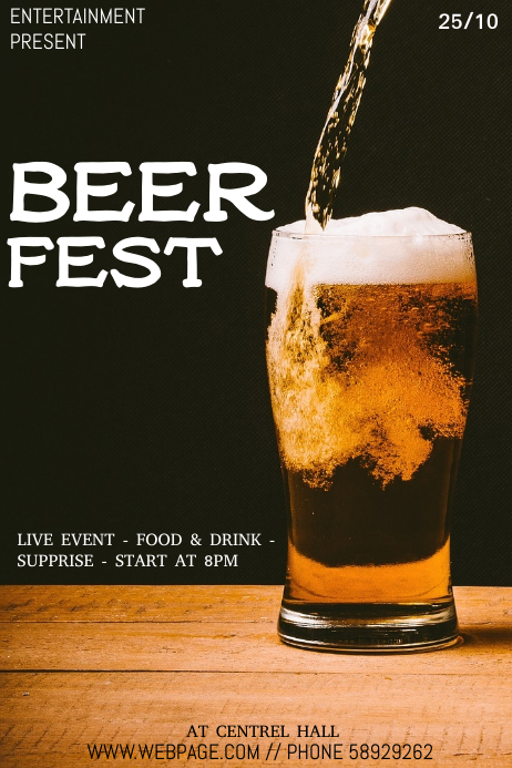 Beer fest event flyer template โปสเตอร์