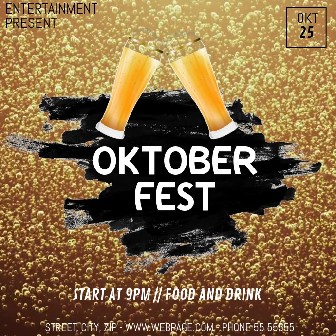 Beer fest video flyer template Square (1:1)