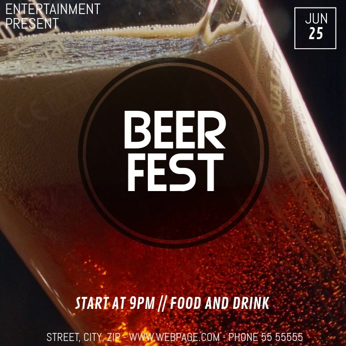 Beer fest video flyer template