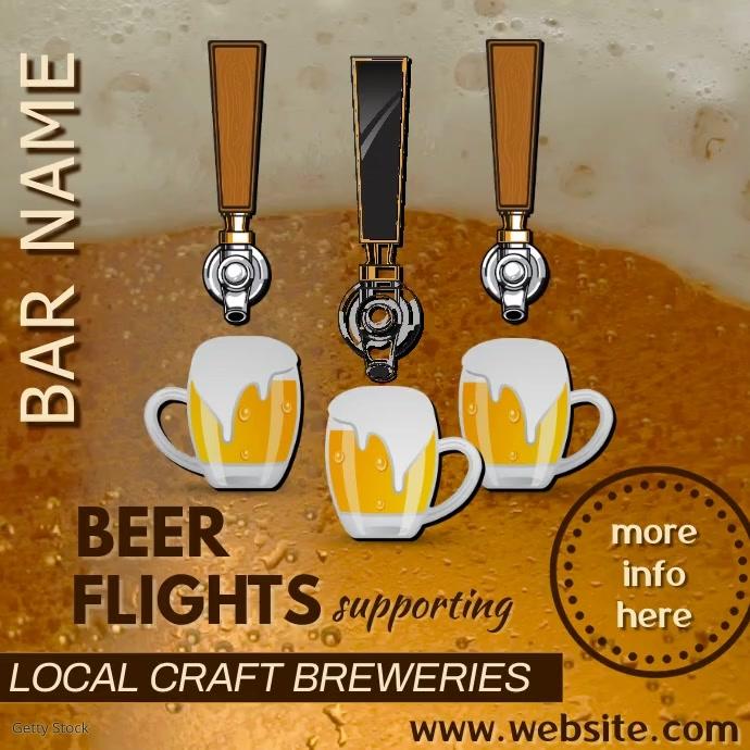 Beer Flights Bar Ad Video Vierkant (1:1) template