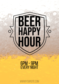 Beer Happy Hour shield black flyer