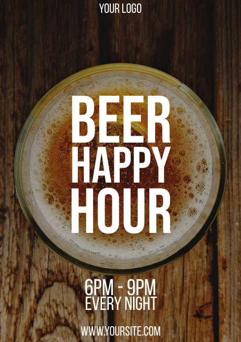 Beer Happy Hour typography flyer A4 template