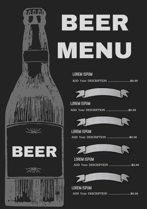 Beer Menu A4 template
