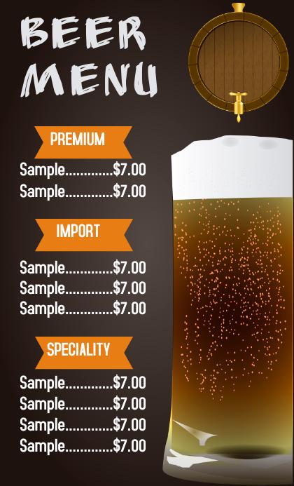 Beer Menu flyer template US Legal
