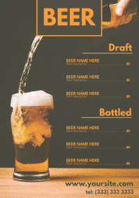 Beer menu table card a4 template