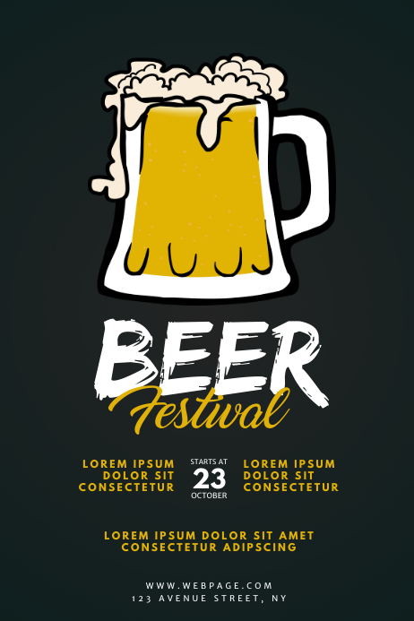 Beer Oktoberfest Festival Flyer Template โปสเตอร์