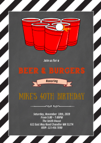 Beer pong birthday invitation A6 template